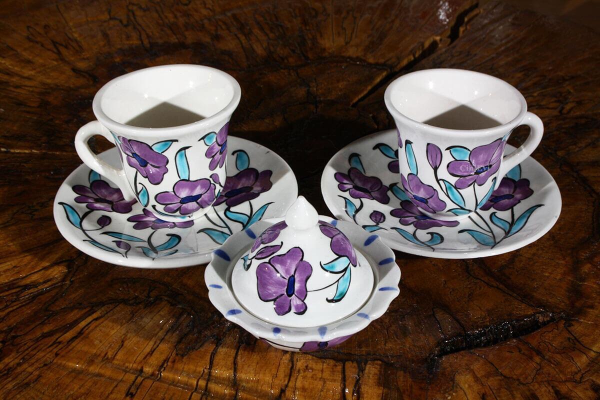 Gelincik Çiçeği Desenli Çini Kahve Seti