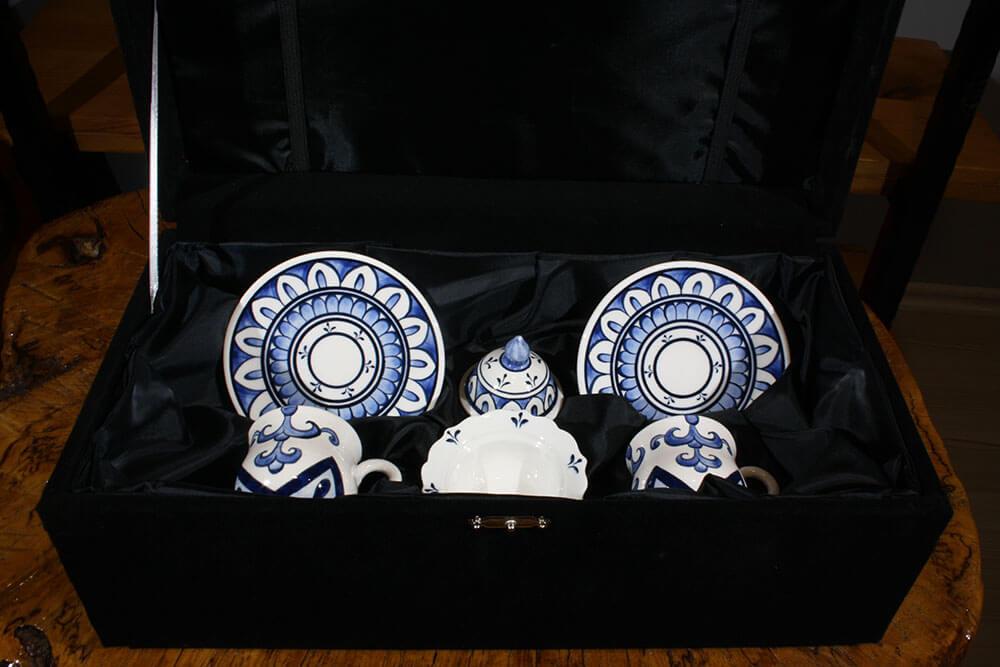 Mavi Beyaz İki Kişilik Kahve Seti