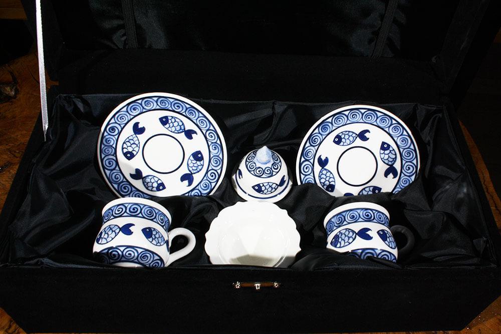 Sazan Motifli Çini Kahve Seti