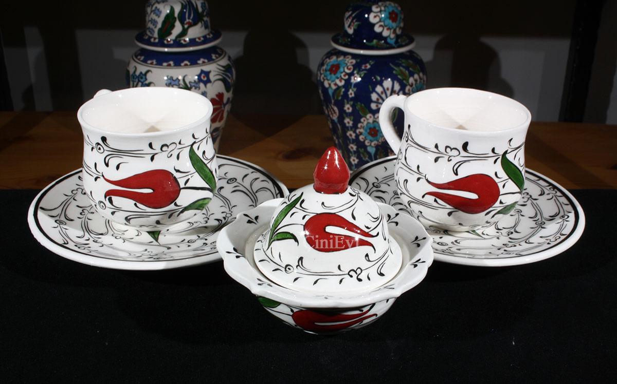 Tek Lale Çini Kahve Seti